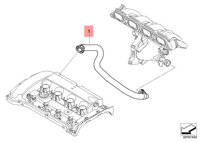 For Mini Cooper R55 R56 R57 R58 R59 Crankcase Vent Hose Genuine 11 15 7 605 186