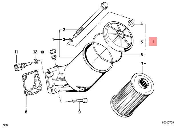 Genuine Bmw E34 Sedan Wagon Lubrication System Oil Filter Oem