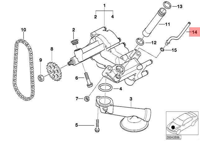 Genuine Bmw E53 Suv Lubrication System Oil Pump Pipe Oem