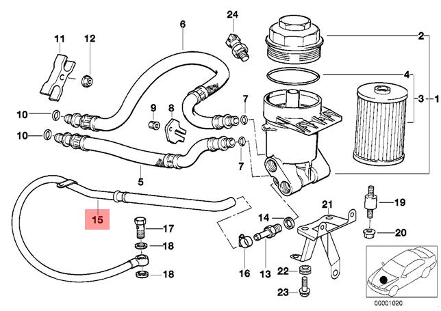 genuine bmw e39 lubrication system oil filter outlet pipe