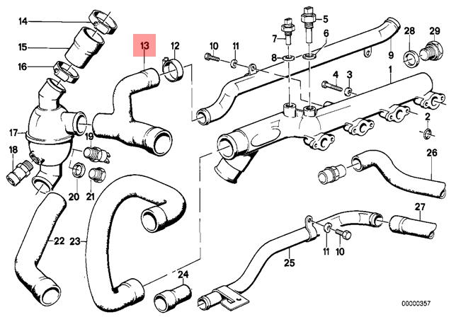 Genuine Bmw Cmsp E30 Cooling System Thermostat Water Hose Oem