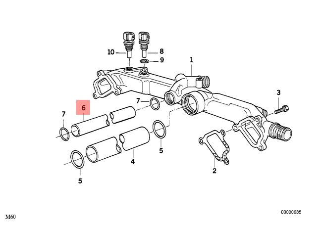 Genuine Engine Thermostat Pipe BMW Alpina X5 V8 E31 E32 E34 E38 E39 11531736831