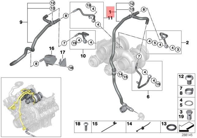 Genuine BMW E70 E71 SAC SUV Turbocharger Feed Inlet Pipe OEM 11537598341
