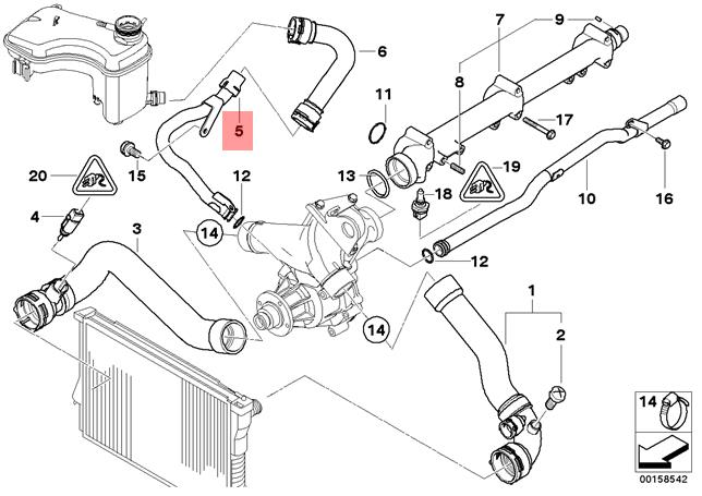 BMW Genuine Cooling System Water Hose Pipe E46 11537789719