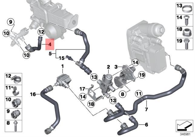 Genuine Bmw F01n F02n F07 F07n F10 F10n Engine Coolant Hose Oem