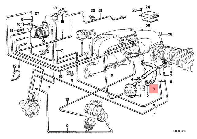 bmw e28 engine diagram genuine bmw e21 e28 sedan egr vacuum control hose oem 11611284714  genuine bmw e21 e28 sedan egr vacuum