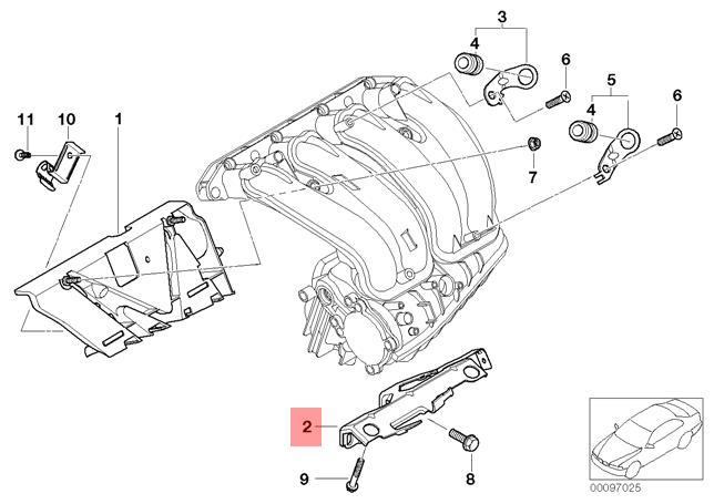 BMW E60 E61N E63 E64 Intake Manifold System Hose OEM 11617834685 Genuine