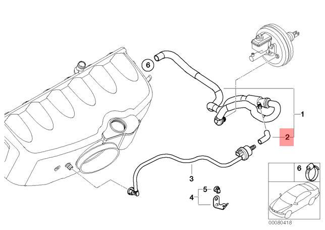 Genuine Bmw E46 Convertible Coupe Vacuum Control Hose Elbow Oem