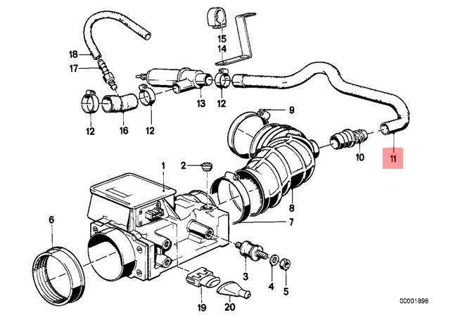 Genuine Bmw E28 E30 Coupe Saloon Volume Air Flow Sensor Hose Oem