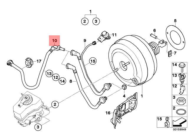 Genuine Bmw E81 E82 Power Brake Unit Depression Vacuum Pipe Oem
