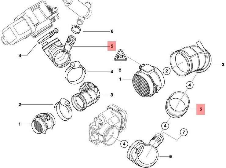 genuine air intake boot   coupling ring bmw z3 roadster
