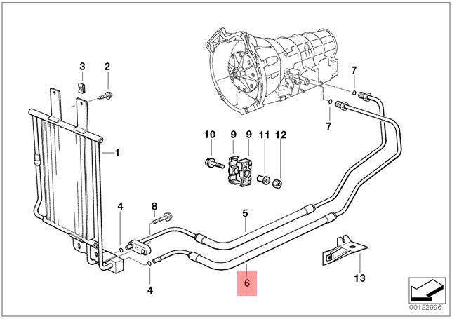 Genuine Transmission Oil Cooler Hose Pipe Outlet Bmw E36 320i 323i