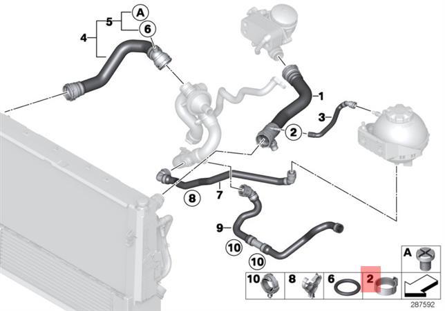 Genuine Bmw E70 E71 F06 F10 Cooling System Coolant Hose Clamp Oem