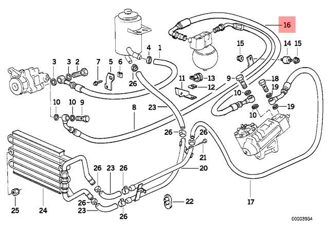 Genuine BMW E31 Coupe Pressure Hose Assembly OEM 32411139578