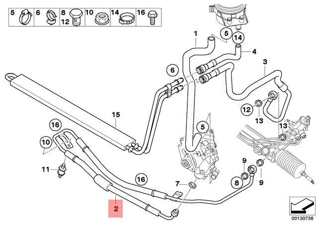 Genuine Bmw E53 Suv Expansion Power Steering Hose Oem 32416763980