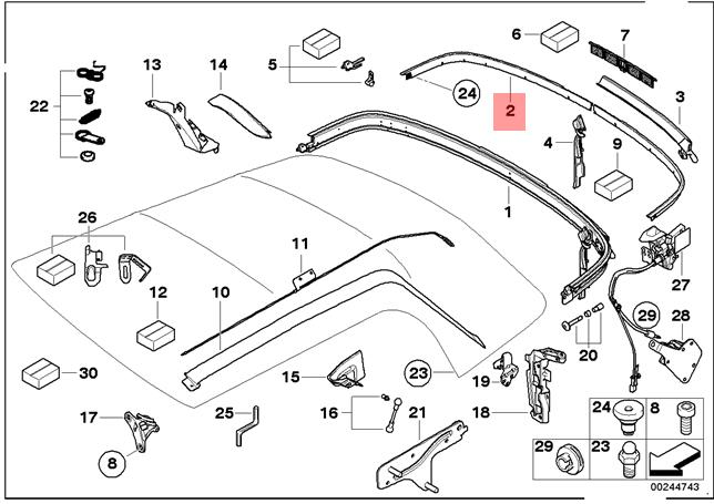 Genuine MINI R52 CONVERTIBLE TOP REAR ROOF MOLDING LEFT 7123437