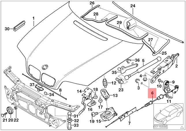 Genuine Bmw Engine Hood Mechanism M3 E46 316i 1 9 316ti 318ci