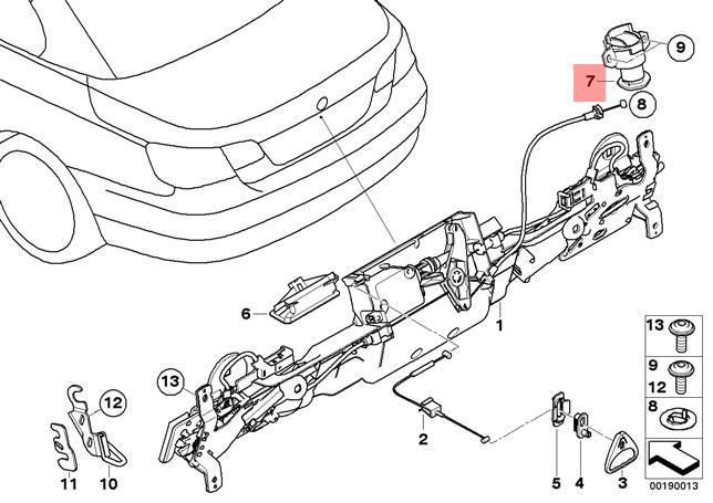 Genuine Bmw E93 E93n Cabrio Trunk Lid Catch With Key Oem 51247199828
