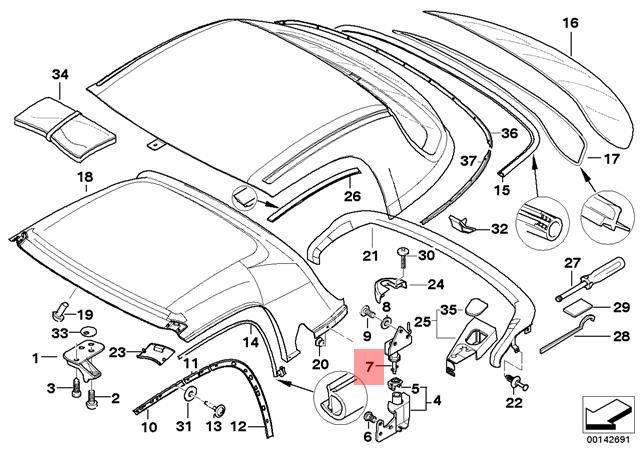 Genuine Bmw Z3 Roadster Right Removable Top Lock Oem 54218397738