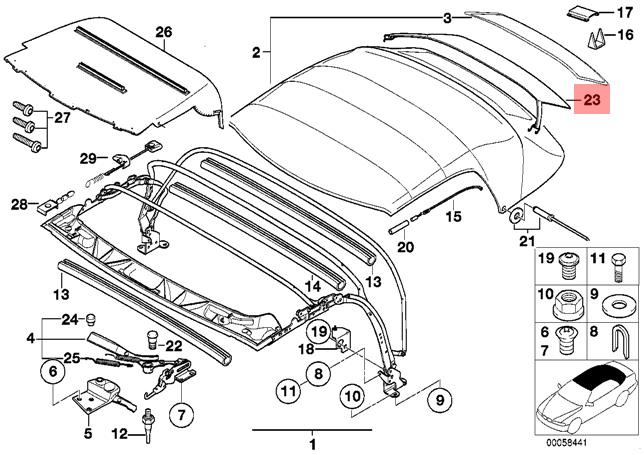 genuine bmw z3 roadster vitre arri u00e8re cover oem 54218410559