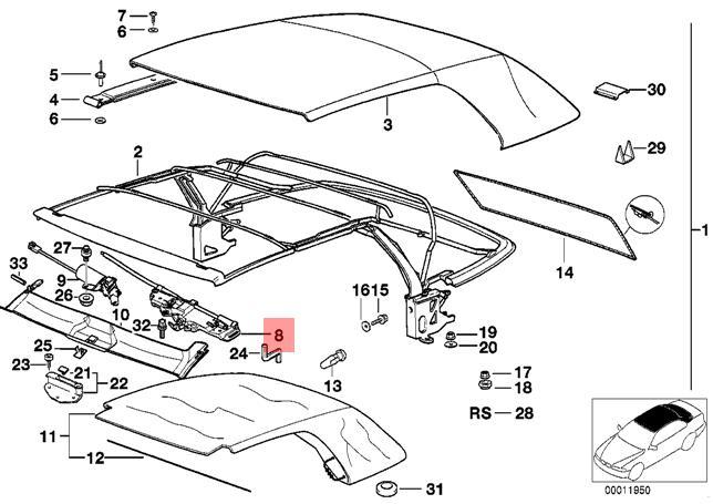 Genuine Bmw E36 Cabrio Right Folding Top Lock Oem 54348217198