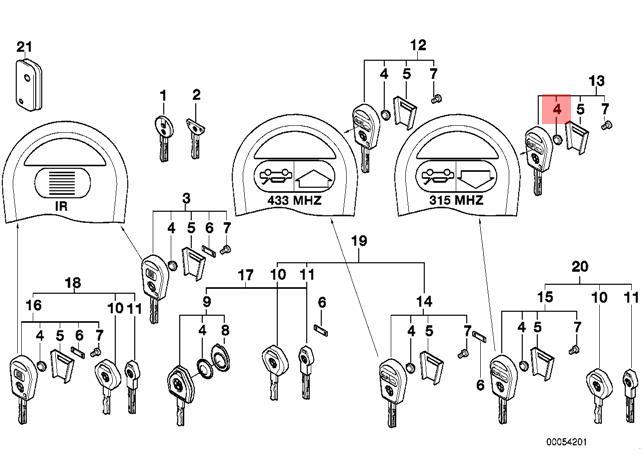 genuine bmw e31 e34 e36 e38 z3 compact ignition key