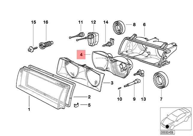 genuine bmw e36 pact reflector left oem 63128361095 ebay BMW Engine Parts Diagram pictures