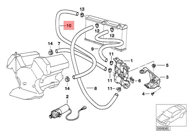 Genuine Bmw E38 Sedan Radiator Engine Return Hose Line Oem