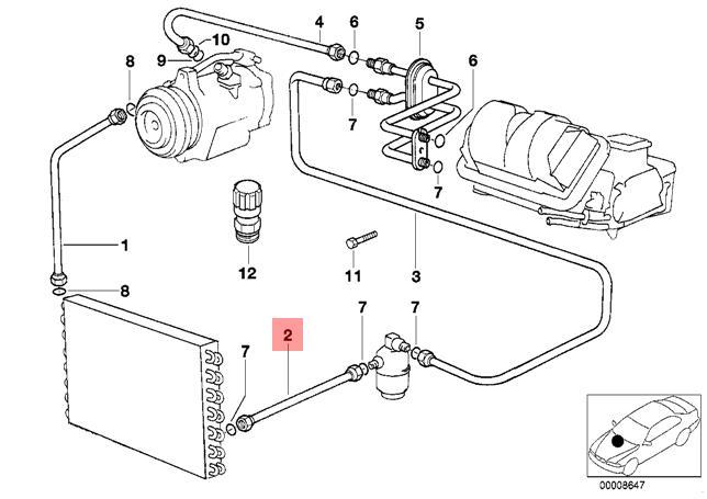 genuine bmw e32 e34 condenser dryer coolant pressure hose