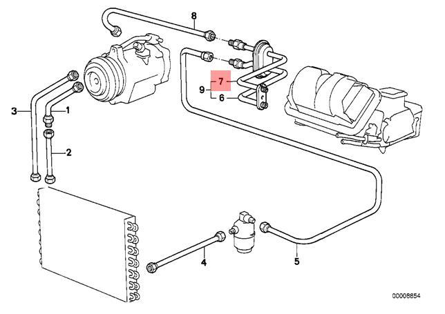 genuine bmw e30 cabrio evaporator compressor suction pipe