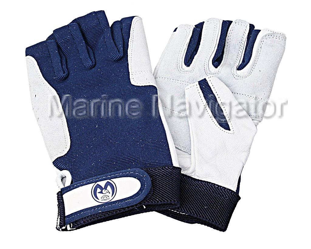 Sailing Gloves Leather White//Blue 5-Finger open Fingerless L