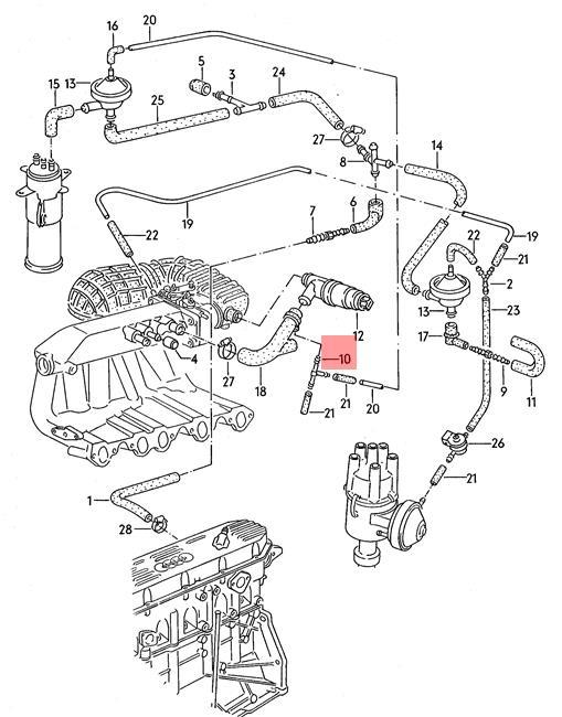 Genuine Connecting Piece Audi Vw Audi 100 Quattro 200 4000 5000