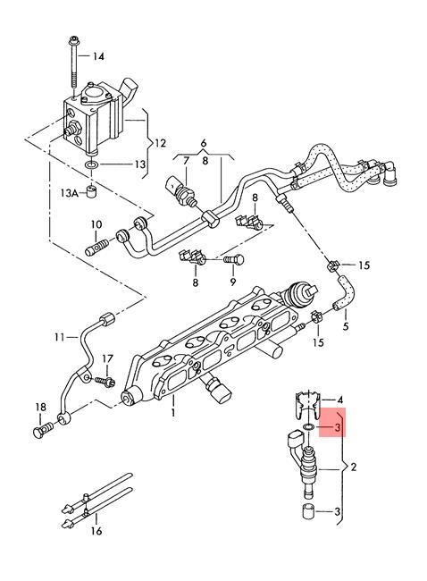 Genuine Gasket Set For Injector Valve Vw Audi Eos Golf R32 Gti