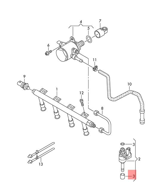 Genuine Gasket Set For Injector Valve Lower Vw Audi Beetle Cabrio Cc