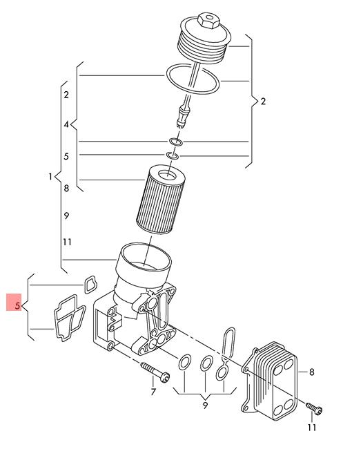 Genuine Gasket Set For Oil Filter Holder Audi Vw 03l198441