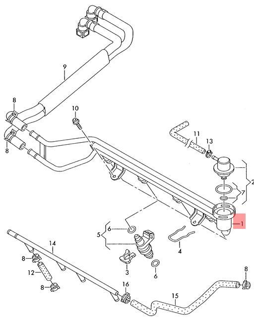 Genuine Fuel Rail Vw Beetle Golf Jetta 1c1 1c9 9b1 9b3 9c1 9g1 9m2