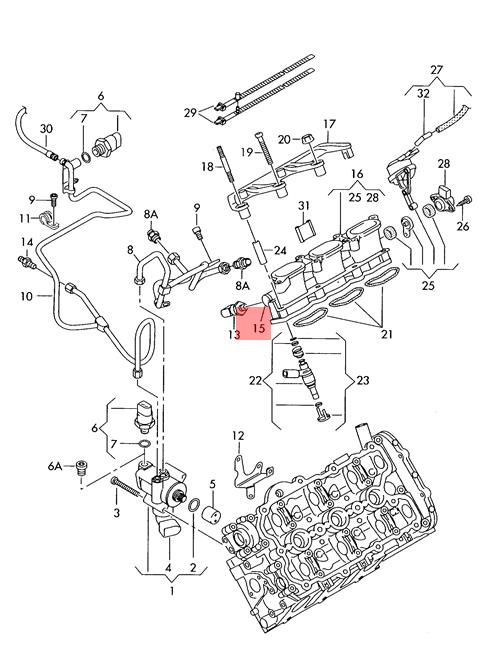 Genuine Fuel Rail Left Audi A4 Avant S4 Cabrio Quattro A6 S6