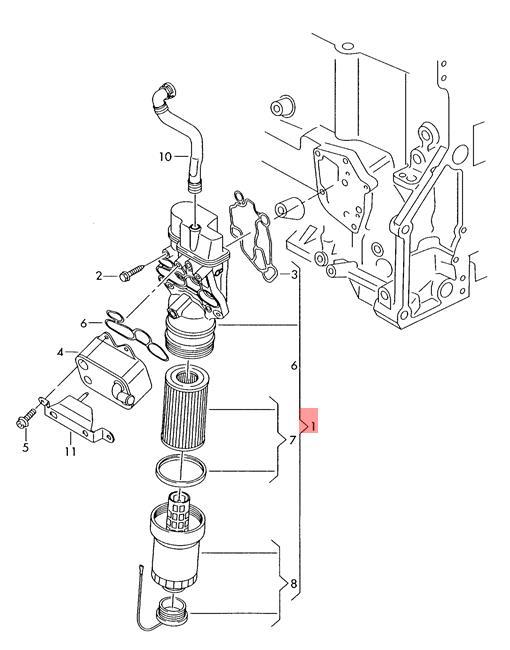 Genuine Oil Filter Bracket Vw Golf Cabriolet 517 06f115397j