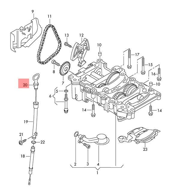 Oil Dipstick Vw Audi Eos Golf R32 Gti Rabbit Jetta Passat 06f115611f
