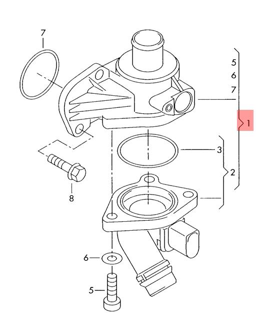 details about genuine coolant regulator vw audi eos golf r32 gti rabbit  jetta 06f121111f b14 engine diagram