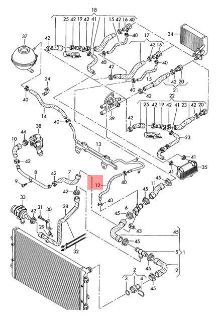 Coolant Hose Vw Audi Eos Golf R32 Gti Rabbit Jetta Passat 06f121447