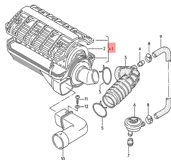 Genuine Volkswagen Air Filter Nos 075129607c