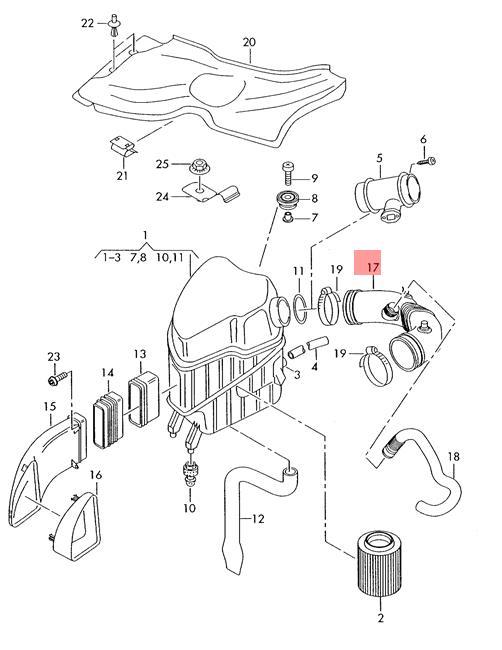 Genuine Intake Hose Rear Audi A8 S8 Quattro 4e2 4e8 077129629