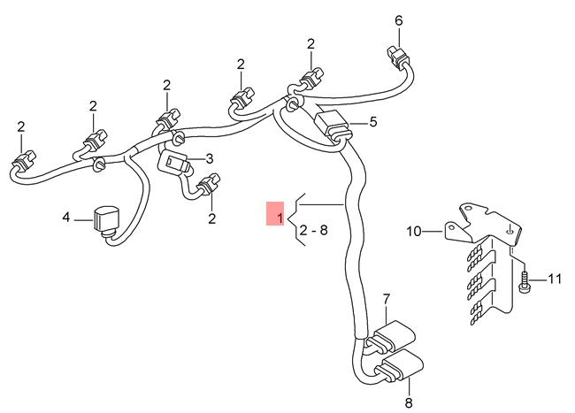 Genuine Audi Rs3 Sportback Lim  Rsq3 Wiring Harness For