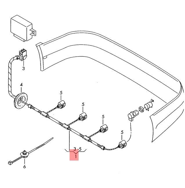 Genuine Vw Wiring Harness For Ultrasonic Sensors 1j9971085b