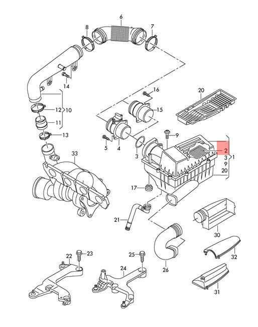 Air Filter Element Vw Audi Cc Eos Golf R32 Gti Rabbit Passat