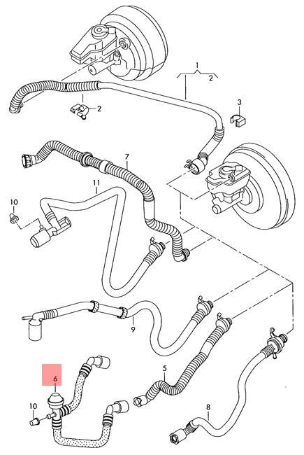 Genuine Vacuum Pipe With Non Return Valve Audi Vw 1k0612041gm