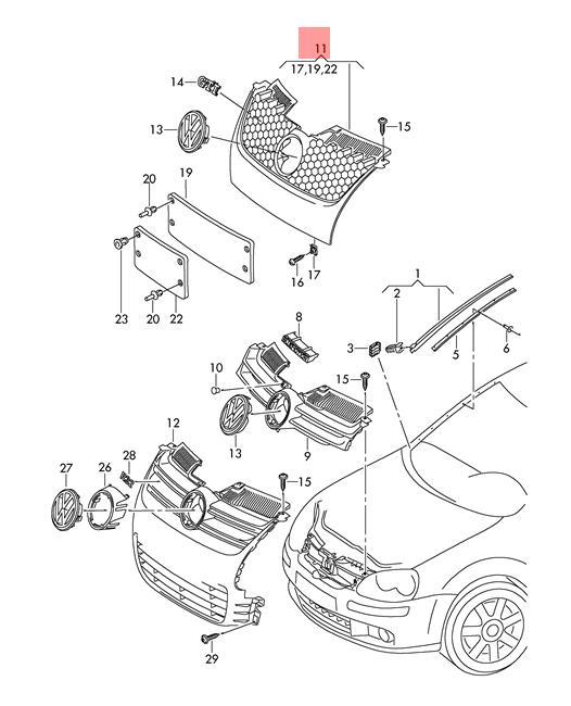 Genuine Radiator Grille Vw Golf R32 Gti Rabbit 1k1 1k0853651hvw8