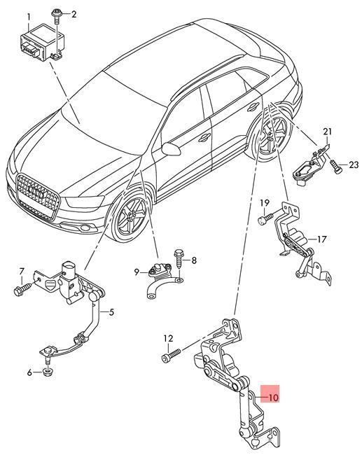 Genuine Level Sensor With Poles Left Rear Audi Vw 1k0941273l