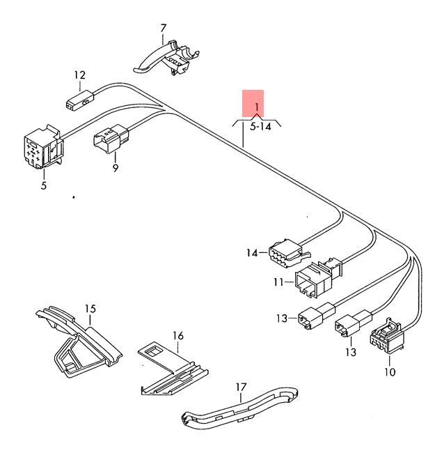 Genuine Vw Touran Adapter Wiring Set For Seat Base Lhd 1t1971392